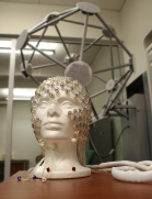 An image of a foam head equipped with a dense EEG net sitting beneath a geodesic photogrammetry system.