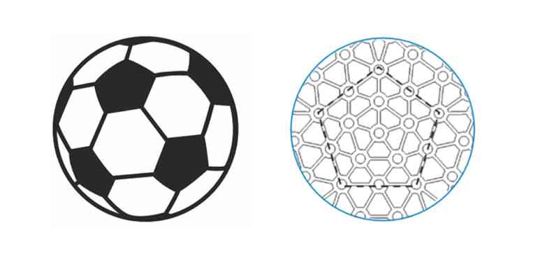 Illustration of a soccer ball on the left compared on the right to an illustration of the Modular Pentagonal Element design.
